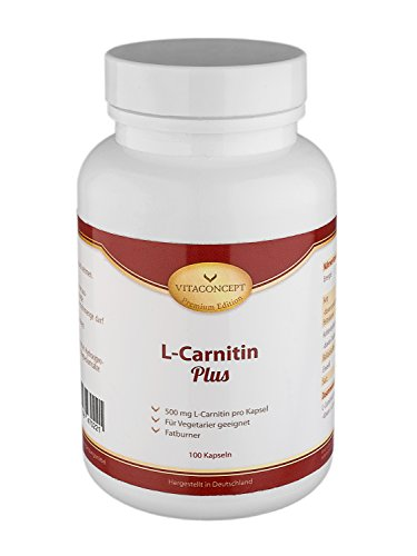 L-Carnitin - 1000 mg (Tagesdosis) - Muskeldefinition - Fatburner - 100 Kapseln - optimale Muskeldefinition & starke Fettverbrennung - Made in Germany - VITACONCEPT