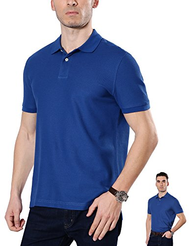 Fastorm Mens Short Sleeve Golf Polo Shirt Performance Uniforms Solid Collar Top Royal Blue X-Large