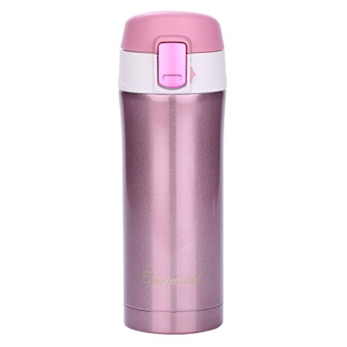 Insulated Stainless Steel Vacuum Flask Travel Coffee Mug 12 oz, Double Walll Leak Proof Beverage Thermos Bottle,Pink