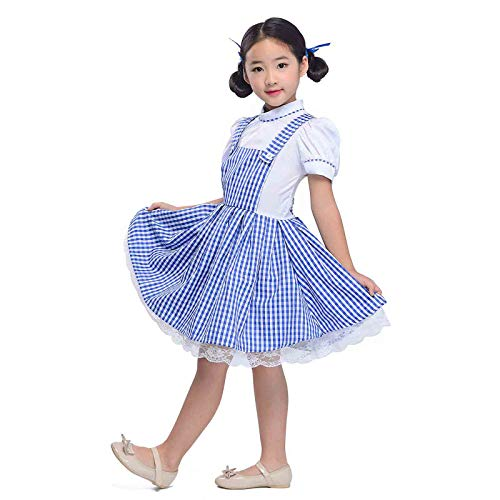 Girls Blue Gingham Dresses Vintage Plaid Strappy Suspender Maid Fluffy Dress Dance Tutu Underskirt (XL) -