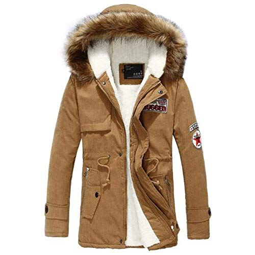Men's Winter Cotton Jacket Softshell Outdoor Coat Apparel Jacket Hood Outwear Jacket Hooded Jacket Winter Jacket Khaki