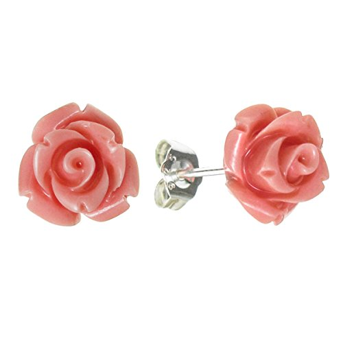 Sterling Silver Simulated Pink Coral Rose Earrings Stud Post 10mm