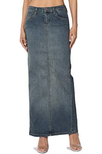 TheMogan Women's Mid Rise Back Slit Pencil Long Maxi Denim Skirt Medium - Straight Skirt Denim