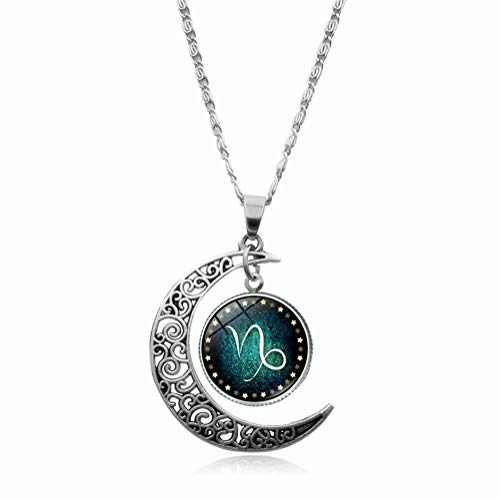 Capricorn Constellation Necklace Pendant Time Gemstone Luminous Glow Long Sweater Chain Necklace Jewelry Fahion (Capricorn)