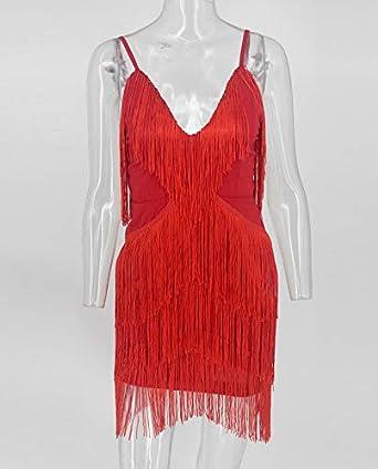 keland Damen Open Back 1920er Jahre Gatsby Kleider Flapper Party Kleid mit Fransen