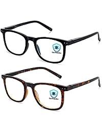 Blue Light Blocking Glasses, 2Pack Cut UV400 Computer Reading Glasses for Anti Eyestrain