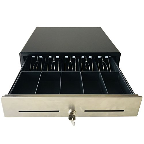 16'' POS Cash Drawer Stainless Steel Front,Removable Tray,5Bill/5Coin,RJ11 Cable Included,Key Lock,Black,BK1616B - Beelta by Beelta (Image #7)