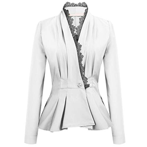 New Women's Ladies Crop Frill Shift Slim Fit Peplum Blazer Jacket Coat White