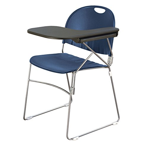 KFI Seating Polypropylene Sled School Chair with Writing Tablet, Navy Finish, Left Tablet by KFI Seating