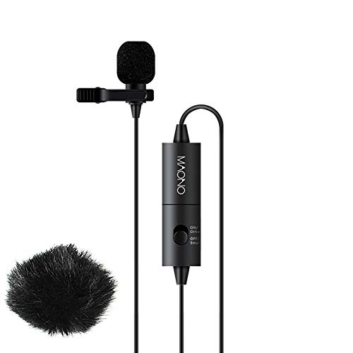 Lavalier Microphone Flat Frequency and High Sensitivity, MAONO AU100 Hands Free Clip-on Lapel Mic with Omnidirectional Condenser for Podcast, Recording, DSLR,Camera, Smartphone, Sony,PC,Laptop(236 in)
