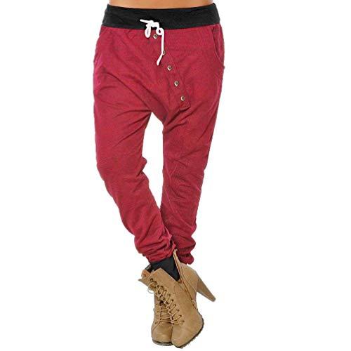 CICIYONER Botón de Mujer Hipsters Harem Pantalones Deportivos Bloomers Pantalones de Cintura Alta Pantalones Rojo