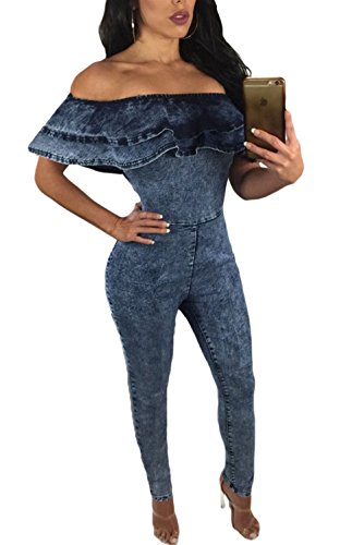 [Blue Ruffle Off Shoulder Denim Jumpsuit Slash Neck Hollow Out Costume Kits] (Denim Romper Costume)