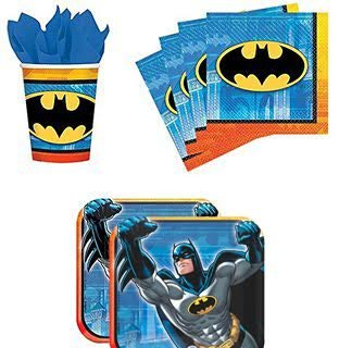 Batman Party Pack Set Plates, Cups, Napkins (16 guests) -
