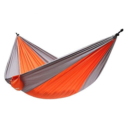 Ohuhu Double Camping Hammock Single, Tear-resistant Nylon, Orange & Gray Single Quiet Pack
