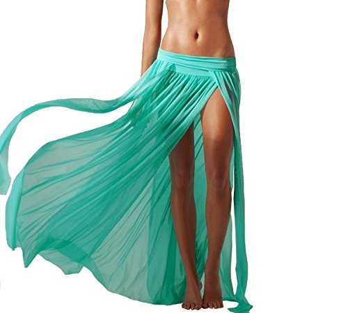 JAKY Womens Sheer Sarong Side Slit Beach Skirt Swimsuit Cover Ups Swimwear(Green)