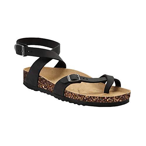 Syktkmx Womens Thong Flat Strappy Slip on Ankle Strap Cork Flip Flops Gladiator Sandals (11 B(M) US, a-Black) -