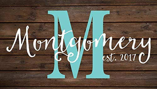 weewen Personalized Custom Family Name Sign Monogram Rustic Inspired Wedding Housewarming Christmas Wood Signs for Home Decor Quote Plaque Sign