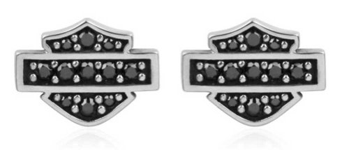 Harley-Davidson Women's Petite Black Bling Bar & Shield Post Earrings HDE0281