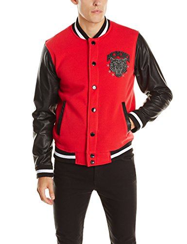 Southpole Men's Varsity Baseball Fleece Jacket with Faux Leather Sleeves, Red, XX-Large