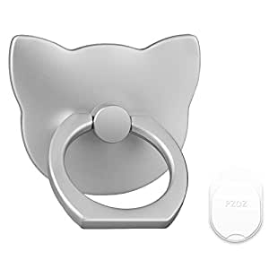 PZOZ Cell Phone Finger Ring Movie Grip Universal Smartphone Dock Car Mount/Sticky Stand/Holder/Kickstand for iPhone 7 6 Plus--Cat (Silver)