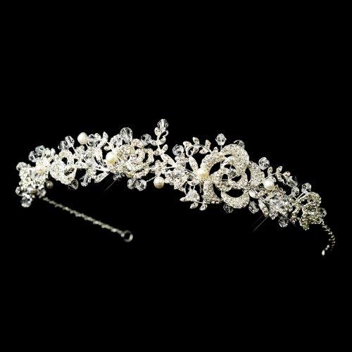 Giovanna Antique Freshwater Pearl & Crystal Bead Swirl Wedding Bridal Tiara (Freshwater Pearl Swirl)