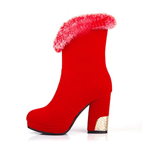 AmoonyFashion Womens Round-Toe Closed-Toe High-Heels Boots With Fur Ornament and Thread Red f8HA9