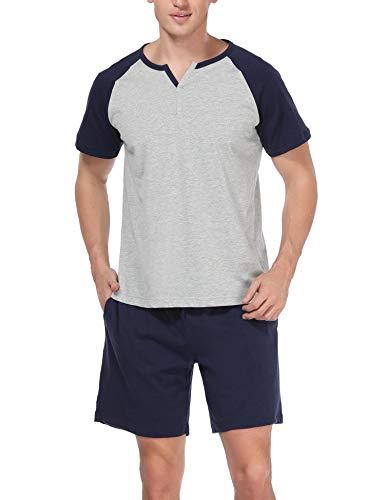 Hawiton Men's 100% Cotton Pajamas Set Short Sleeve Crew Neck Lounge Sleepwear