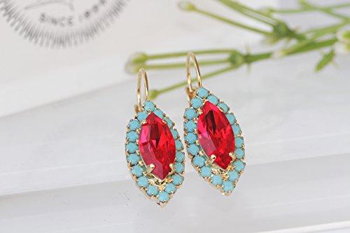 (BLUE RED DROPS, Swarovski Earrings, Marquise Earrings,Turquoise Earrings,Ruby Red Earrings,Bridal Earrings,Birthday Gift,Rhinestone Earrings)