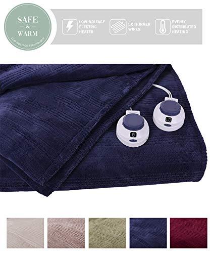 Triple Rib Electric Heated Warming Blanket - Size: King, Col
