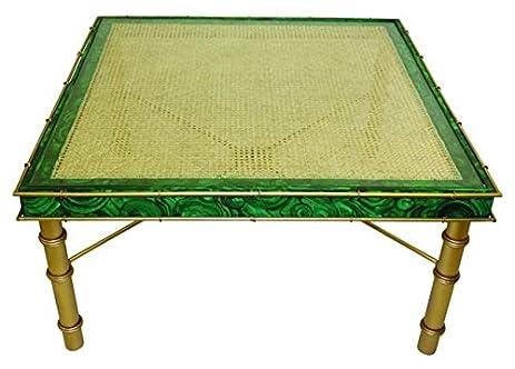 Malachite emerald green square coffee table art deco cocktail bamboo