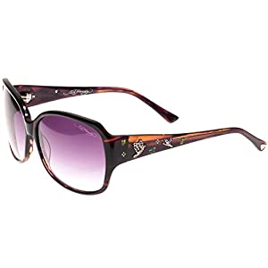 Ed Hardy Flock of Butterflies Sunglasses with Horn Gradient 60 14 130, Purple
