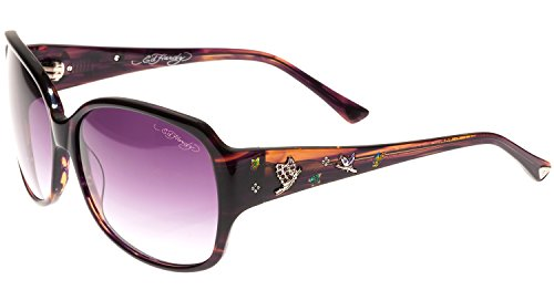 Ed Hardy Flock of Butterflies Sunglasses with Horn Gradient 60 14 130, - Hardy Sunglasses