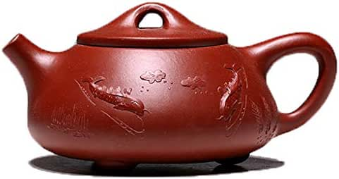 Teapot, Purple Shirt, Famous Pure Handmade, Black Zhu Mud, Stone Scoop, Painted, Vintage, Double Vent LCSHAN (Style : Green mud pile stone scoop)