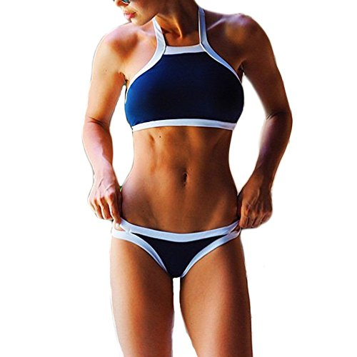 CTHEE Donne Sexy Halter Neck Sport Bikini Stringa Summer Beach Costume Da Bagno Costume Da Bagno Blu Taglia S