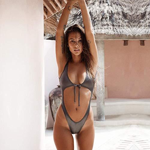 QAZWSX Women Hollow Out One Piece Swimsuit Ladies Bandage Beachwear Push Up Bikini Swimwear Bathing Suit