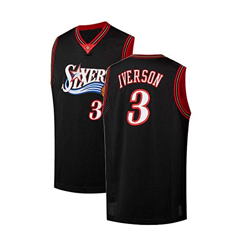 5f9d13035 Youth Iverson Jersey 3 Philadelphia Allen Kids Athletics Retro Basketball Boys  Sizes Black (Youth Small 8)