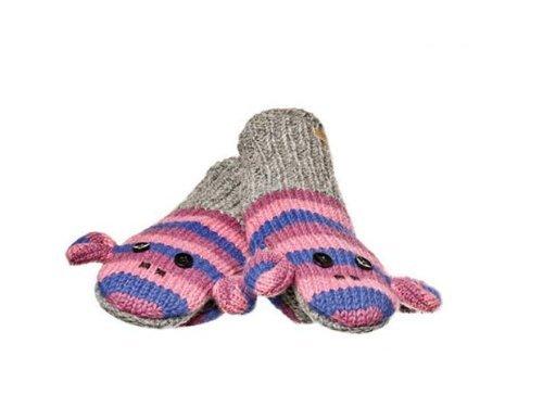 KnitWits Wool Fleece Lined Purple Stripe Sock Monkey (Monkey Wool Mittens)