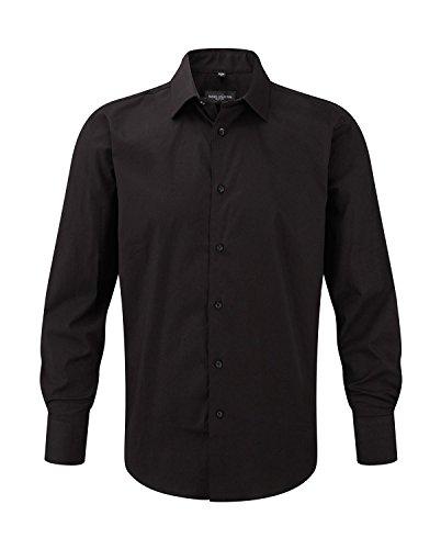 pflegeleichtes körperbetontes Langarm Stretch-Hemd - Farbe: Black - Größe: XXL
