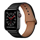 KYISGOS Compatible with iWatch Band 44mm 42mm, Genuine Leather Replacement Band Strap Compatible with Apple Watch Series 4 Series 3 Series 2 Series 1 42mm 44mm, Black