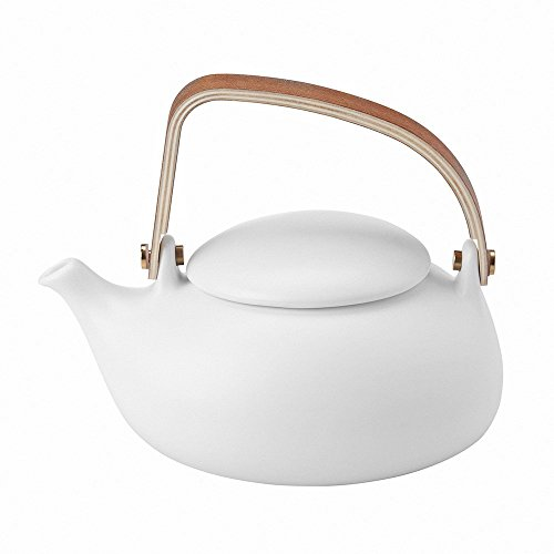 ZENS White Ceramic Teapot 28OZ/800ML, Matte Finish Smooth Texture, with Nature Bentwood Handle, Pebble Shape Lid, and Stainless Steel Strainer for Flower Loose Leaf Tea Steeping
