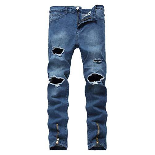 De Fit Mezclilla Flacos Casuales Destruido Slim Skinny Pantalones Agujero Vaqueros Pantalones Pantalones del Vaqueros Blau Elástico Vaqueros Los Pantalones De Pantalones Hombres qnUA5Wg