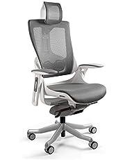 UNIQUE DESIGN FOR PEOPLE – WAU 2 – ergonomisk kontor-snurrstol kontorssoffa chefsfåtölj kontorsstol vit/nät (W-709-W-NW41) – träkol