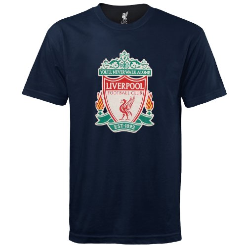 Liverpool Football Club Official Soccer Gift Kids Crest T-Shirt Navy 8-9 -