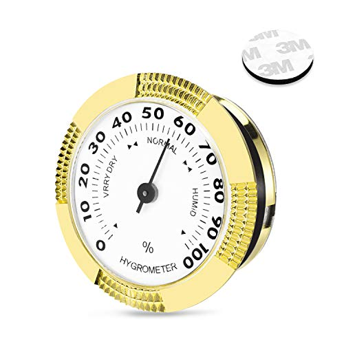 Cigar Hygrometer, Round Analog Hygrometer for Cigar Humidor/Cigar Box/Cigar Cabinet, Gold ()