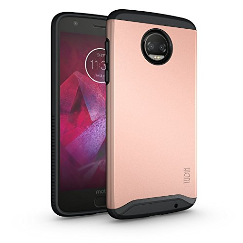 Moto Z2 Force Case, TUDIA Slim-Fit Heavy Duty [Merge] Extreme Protection/Rugged but Slim Dual Layer Case for Motorola Moto Z Force (2nd Generation), Moto Z2 Force Droid Edition (Rose -