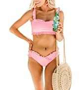 Aleumdr Womens Flounce Falbala Push-up Padded Ruffled Two Pieces Bikini Set Swimsuit