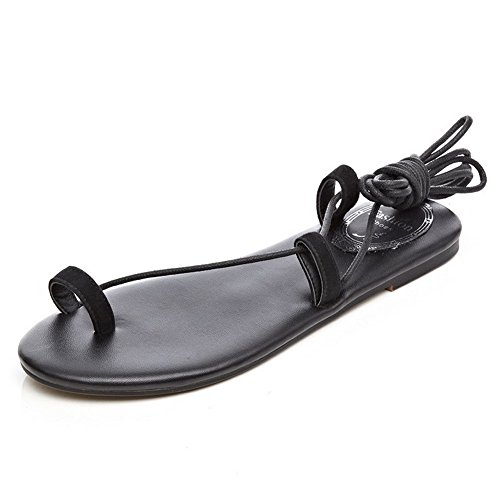AllhqFashion Women's Frosted Open Toe No-Heel Lace-Up Solid Sandals Black taCDa5UM