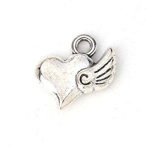 PEPPERLONELY 30pc Antiqued Silver Alloy Heart Wing Charms Pendants 14x12mm (1/2