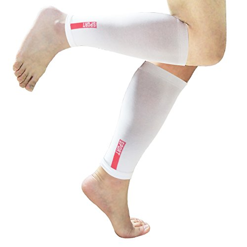CALF COMPRESSION SLEEVE - Shin Splint Leg Compression Socks for Men & Women - Great For Running, Cycling, Air Travel, Support, Circulation & Recovery - (1 pair) (L/XL, White)
