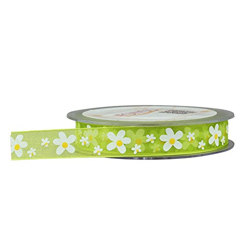 (2 Pack)Fowod Printed Floral Flower Ribbon DIY Party Decoration, 22 Yard / 66 Feet, 0.6 Inch Wide,Green -